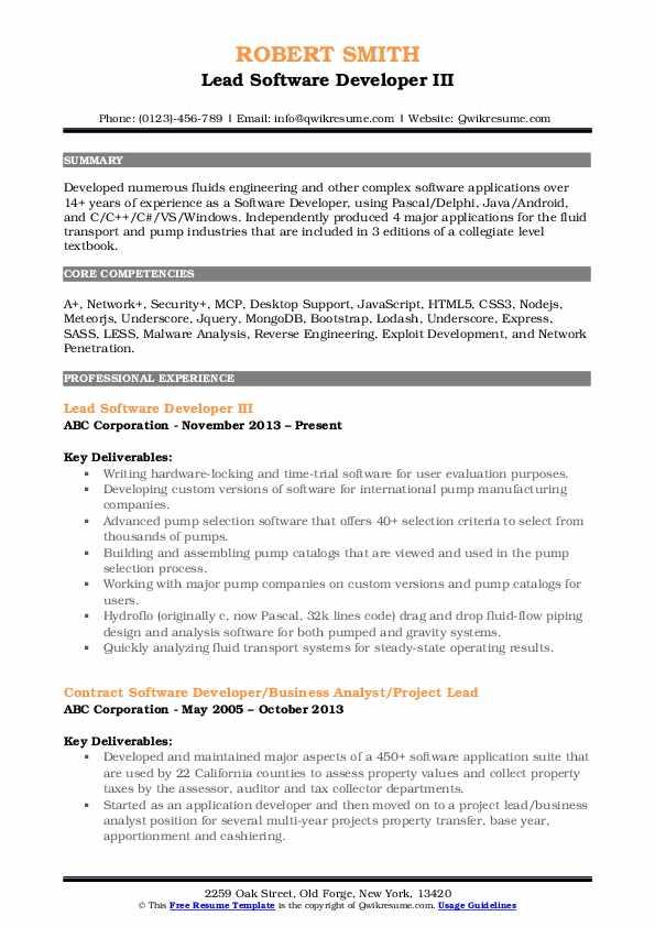 Lead Software Developer III Resume Format