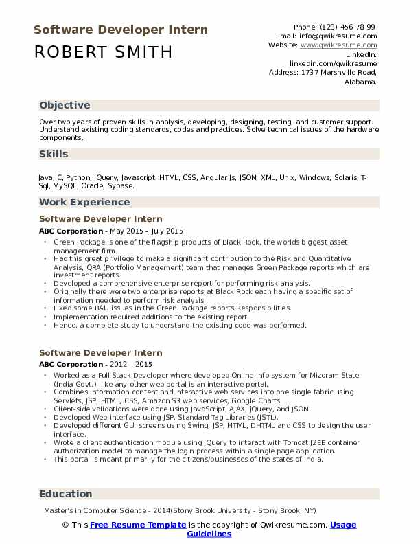 Software Developer Intern Resume Sample