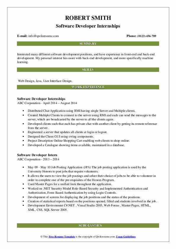 Software Developer Internships Resume Sample