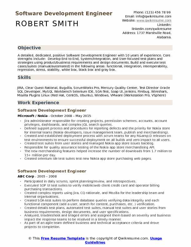 Software Development Engineer Resume Samples Qwikresume
