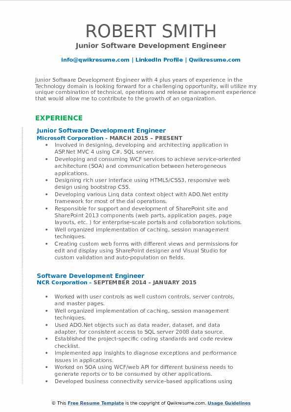 Junior Software Development Engineer Resume Sample