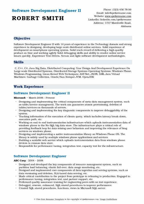 Software Development Engineer II Resume Model