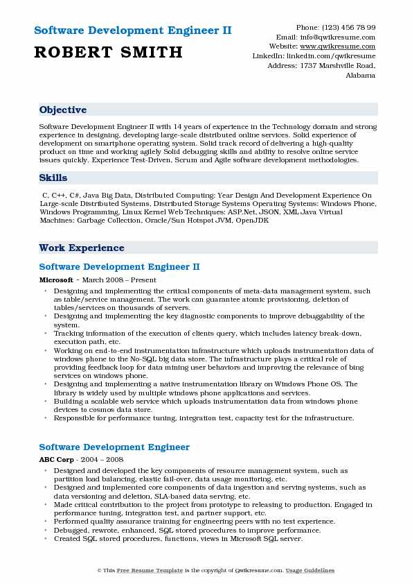 Software Development Engineer Resume Samples Qwikresume