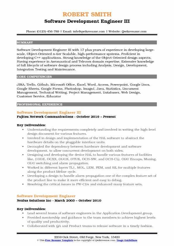 Software Development Engineer III Resume Format