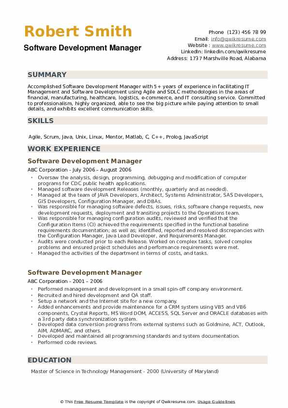 Software Development Manager Resume example