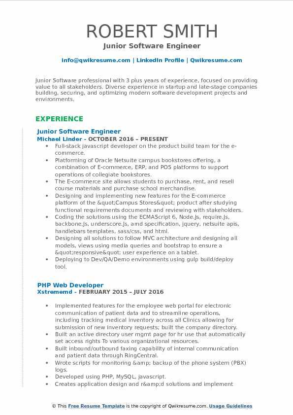 Junior Software Engineer Resume Model