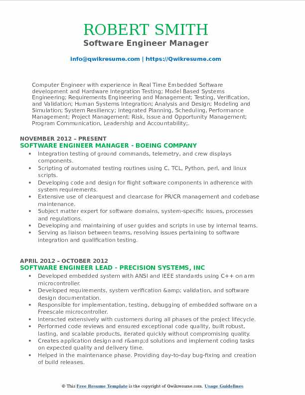 Software Engineer Manager Resume Format