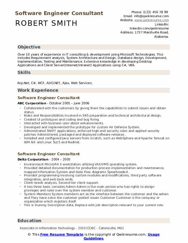 Software Engineer Consultant Resume Samples Qwikresume