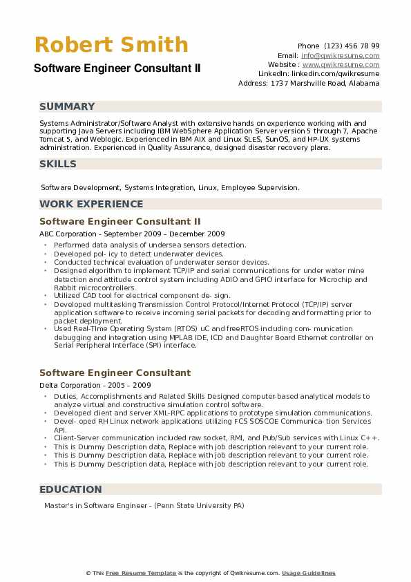 Software Engineer Consultant Resume example