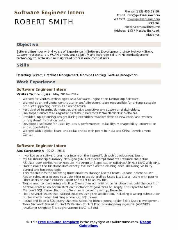 Software Engineer Intern Resume Example