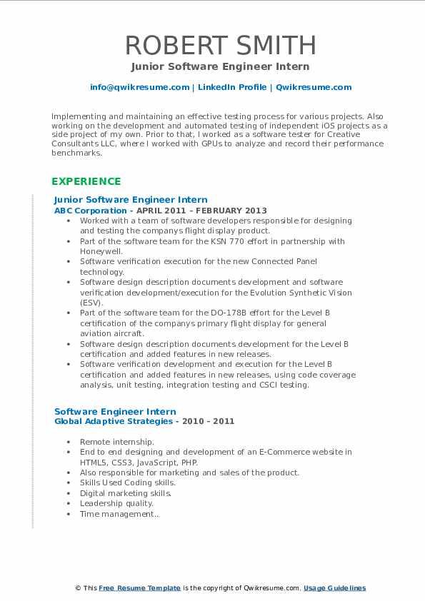 Junior Software Engineer Intern Resume Template