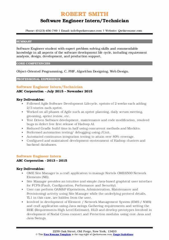 Software Engineer Intern/Technician Resume Format