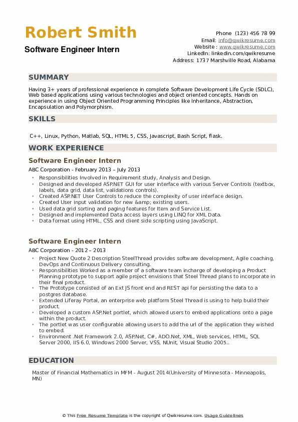 Software Engineer Intern Resume example