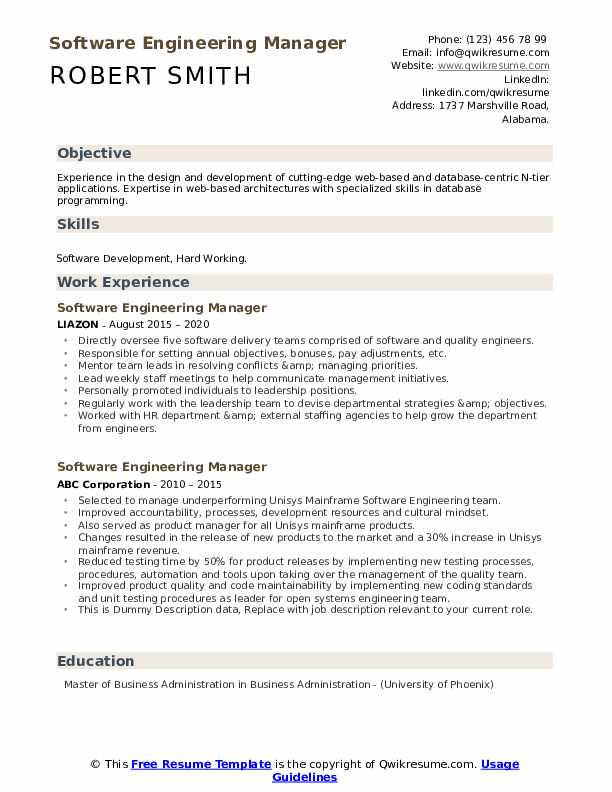 Software Engineering Manager Resume example