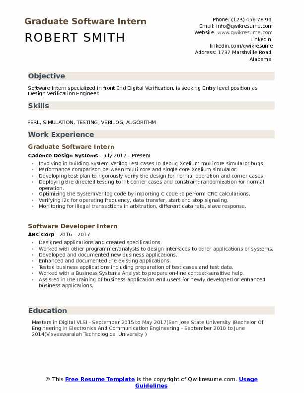Graduate Software Intern Resume Template