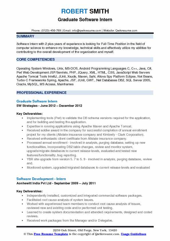 Graduate Software Intern Resume Format