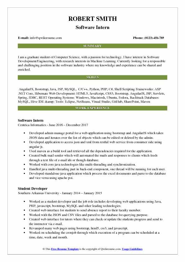Software Intern Resume Model