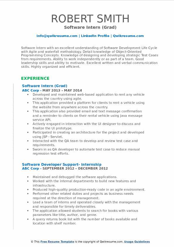 Software Intern (Grad) Resume Format