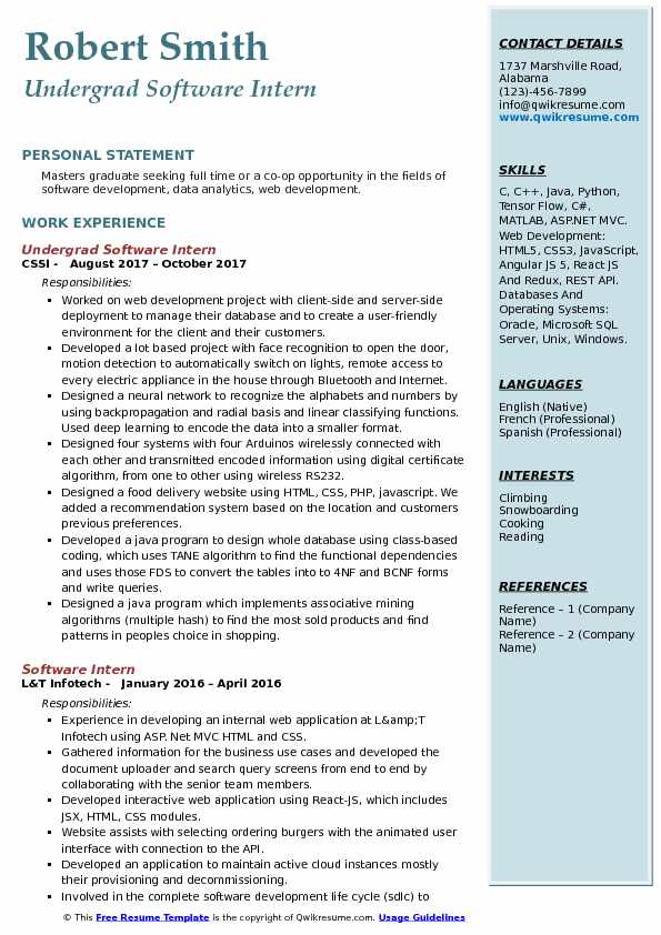 Undergrad Software Intern Resume Template