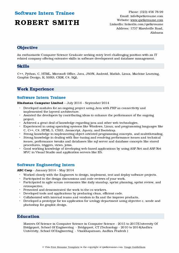 Software Intern Trainee Resume Sample