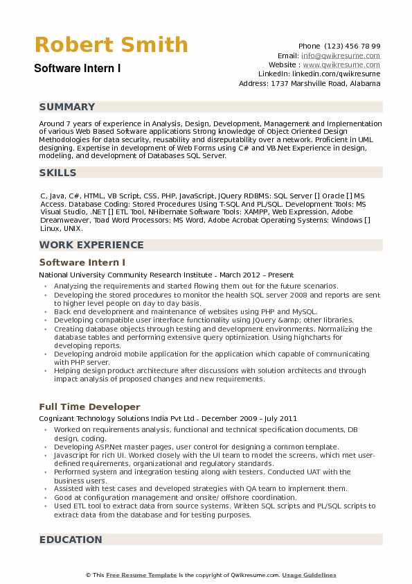 Software Intern I Resume Model