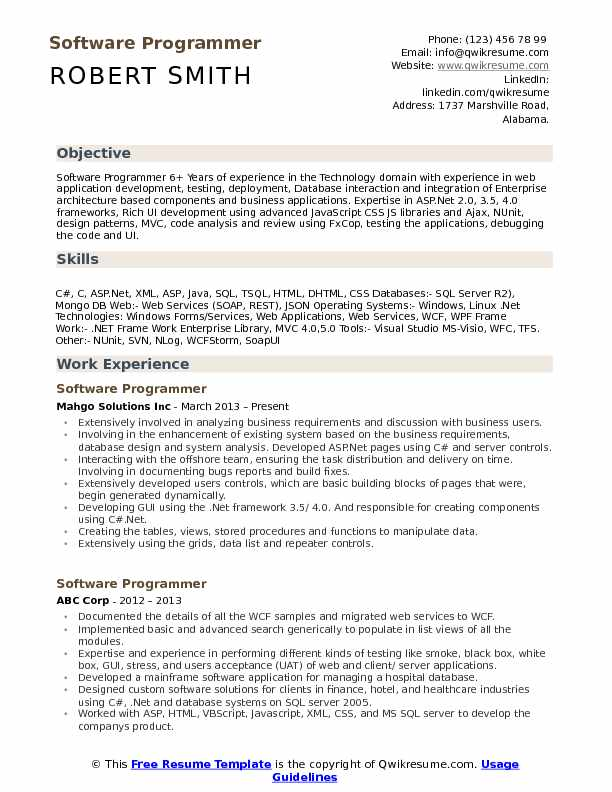 Software Programmer Resume Sample
