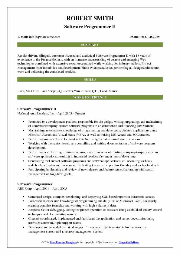 Software Programmer II Resume Model