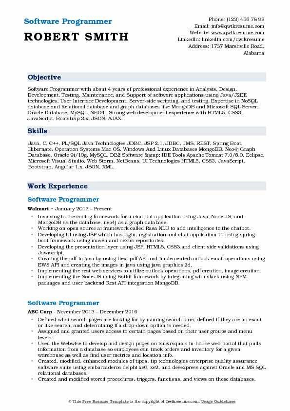Software Programmer Resume Model