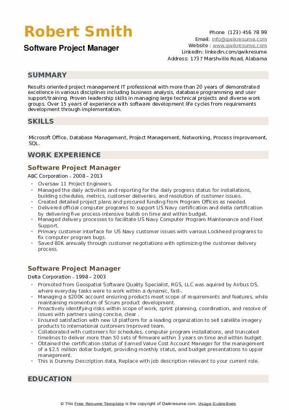Software Project Manager Resume example