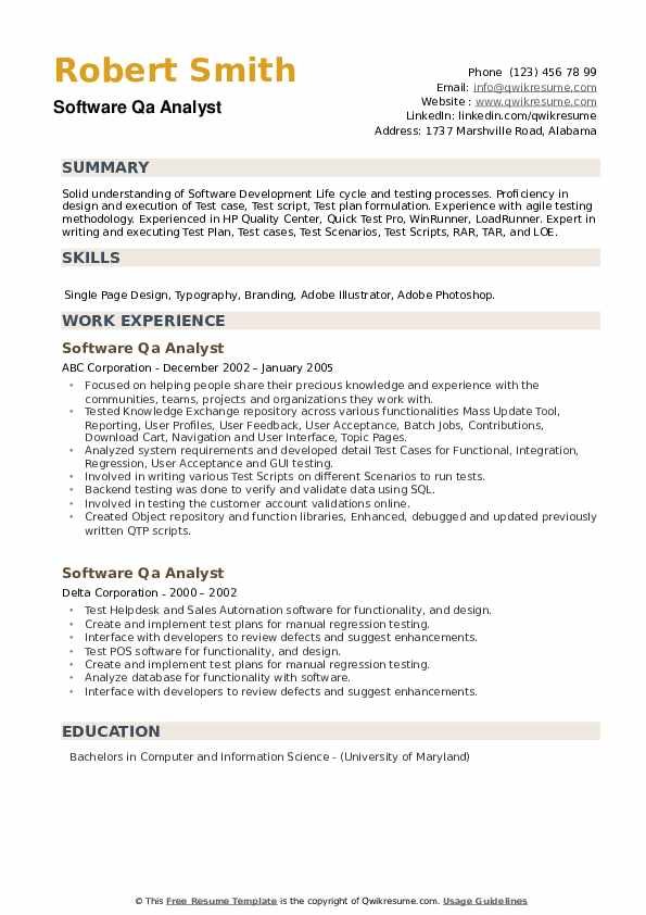 Software QA Analyst Resume example