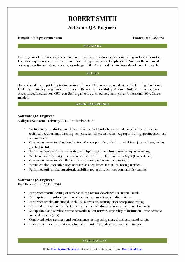 Software QA Engineer Resume Example