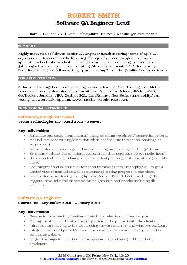 Software QA Engineer (Lead) Resume Template