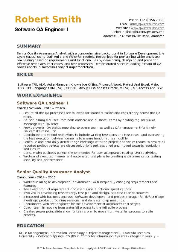Software QA Engineer I Resume Template