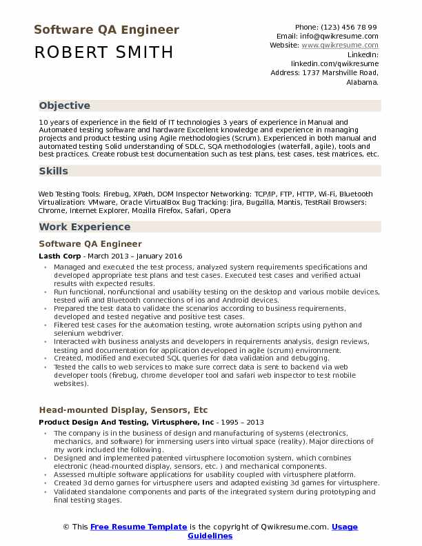software qa engineer resume samples