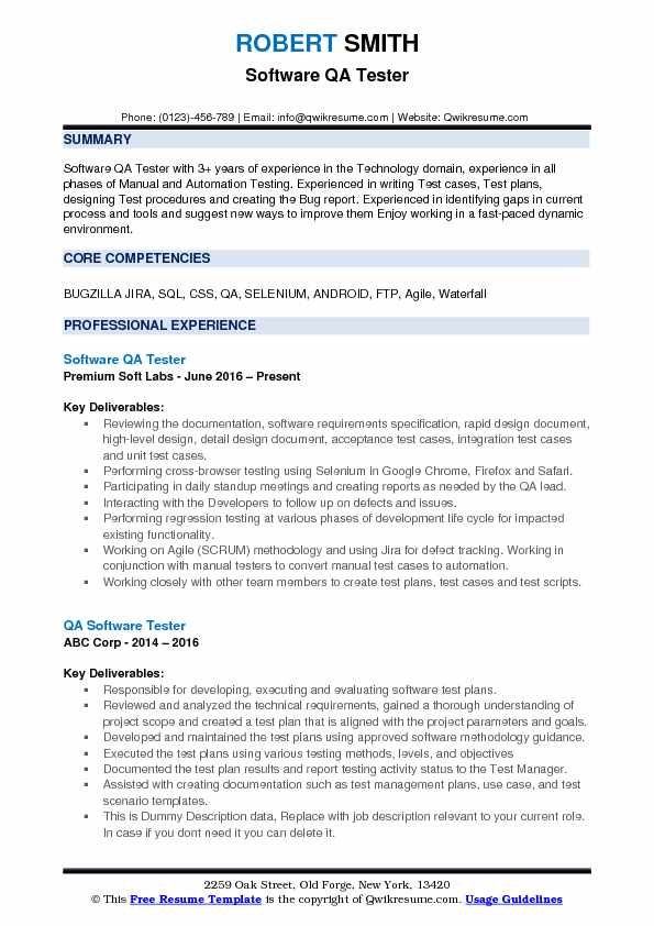 software qa tester resume samples