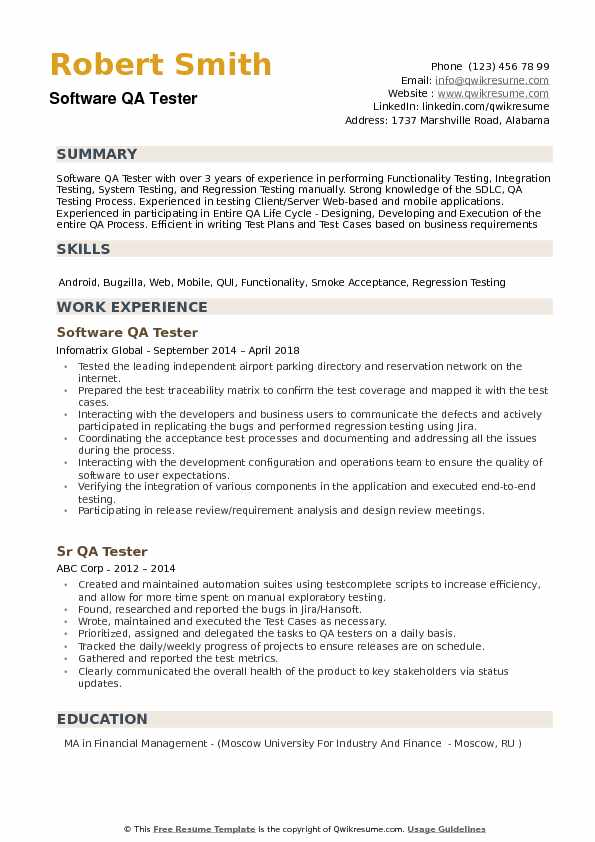 Software QA Tester Resume Example
