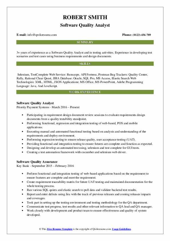 Software Quality Analyst Resume Template