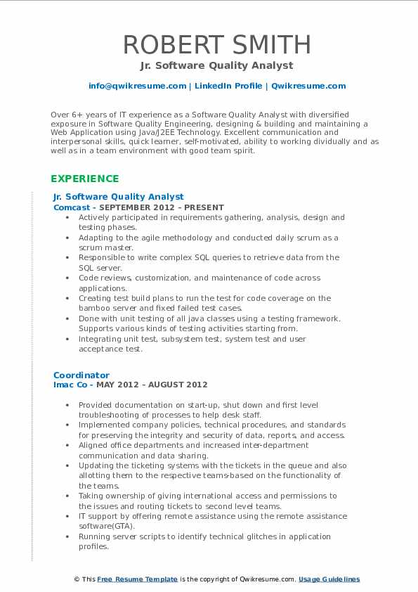 Jr. Software Quality Analyst Resume Template