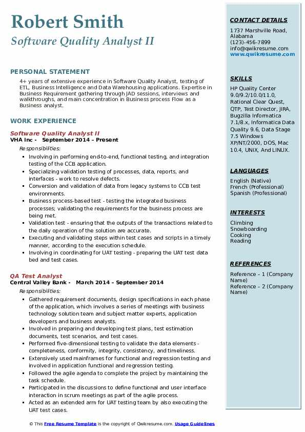 Software Quality Analyst II Resume Model