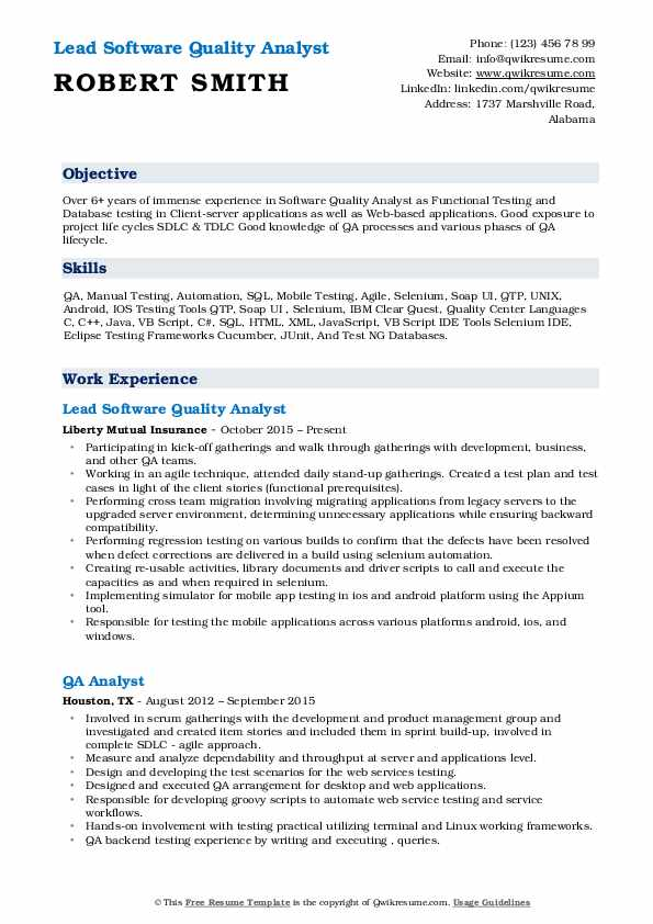 Lead Software Quality Analyst Resume Format