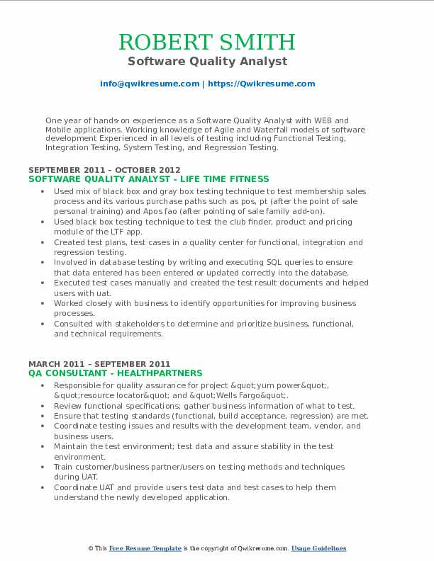 Software Quality Analyst Resume Format