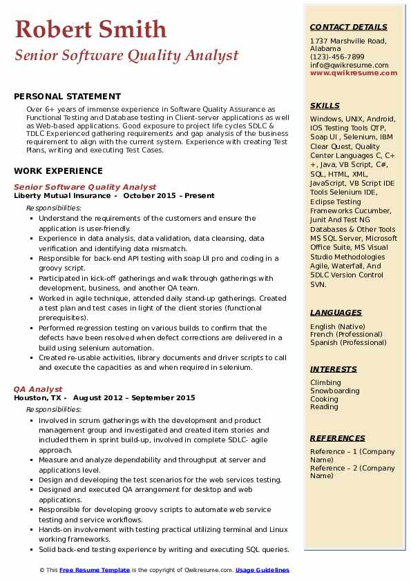 Senior Software Quality Analyst Resume Template