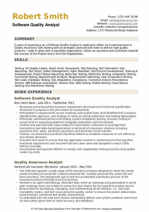 Software Quality Analyst Resume example