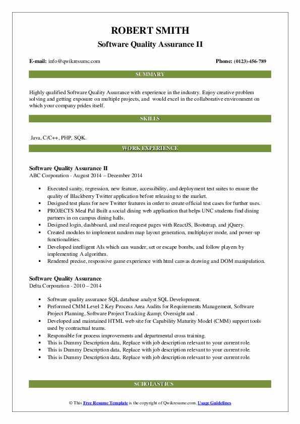 software quality assurance resume samples  qwikresume
