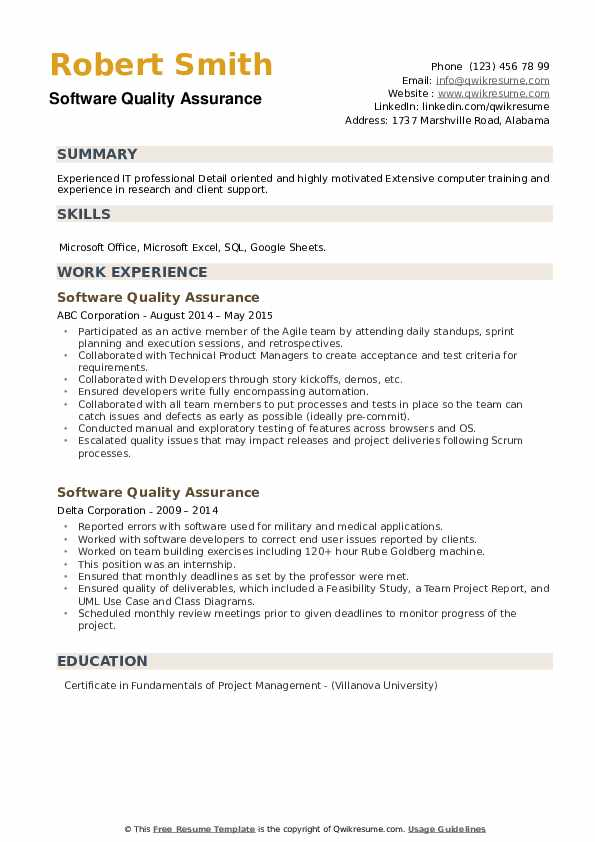 Software Quality Assurance Resume example