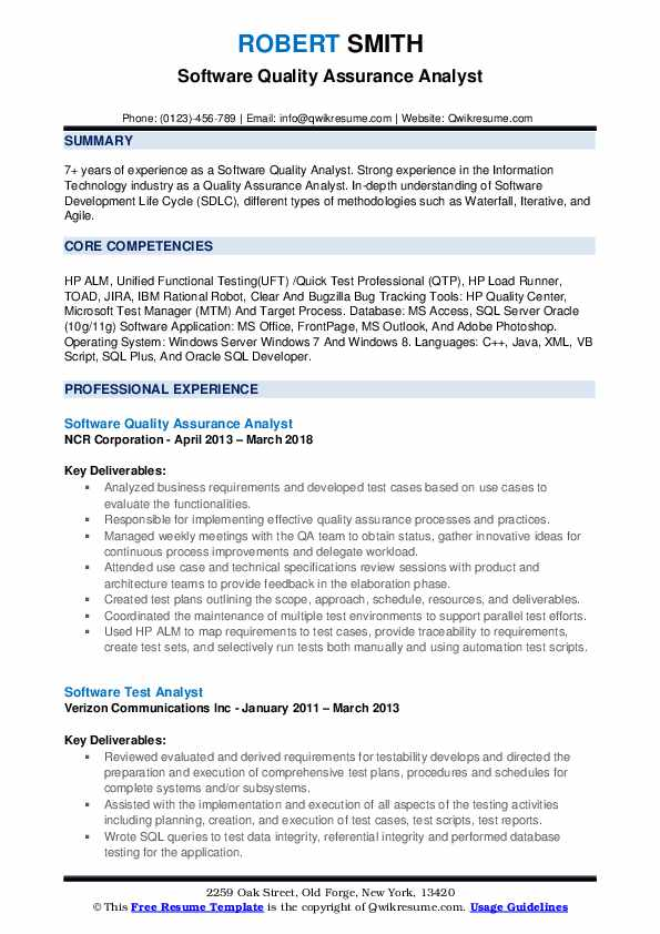 Software Quality Assurance Analyst Resume Samples | QwikResume