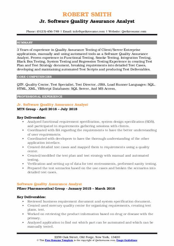 Jr. Software Quality Assurance Analyst Resume Sample
