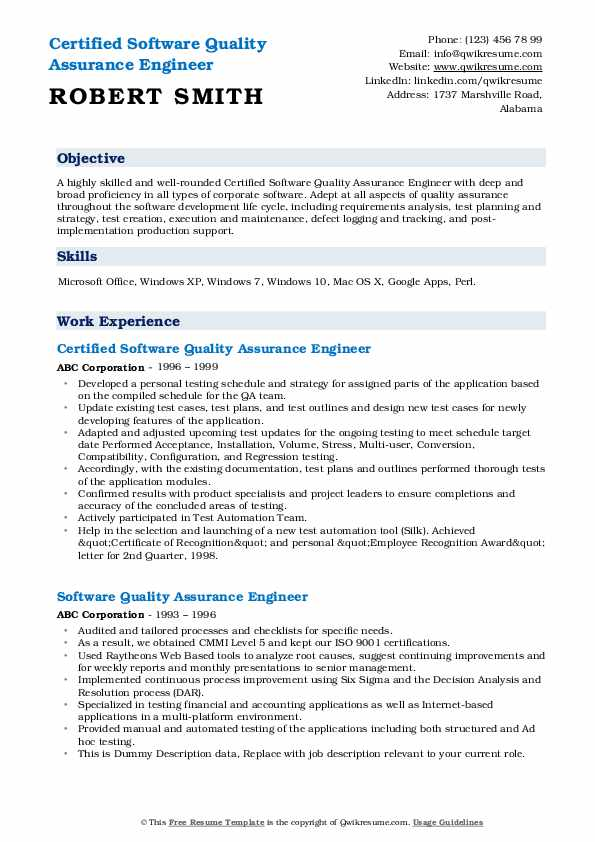 software quality assurance engineer resume samples