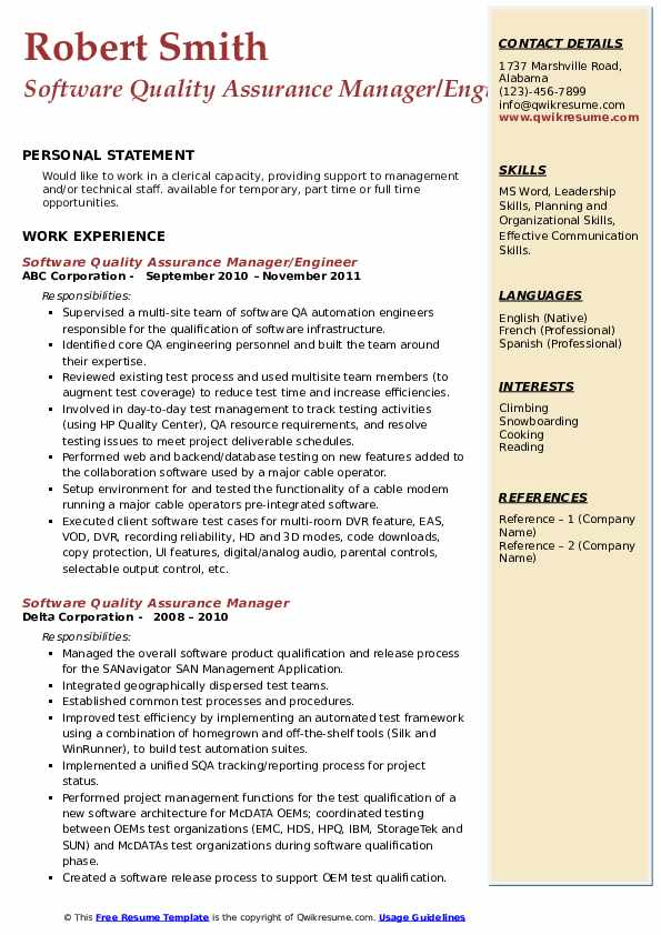 software quality assurance manager resume samples  qwikresume