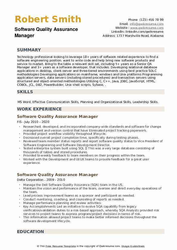 Software Quality Assurance Manager Resume example
